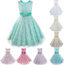 Kids Girls Floral Lace Dress Formal Prom Pageant Bridesmaid Birthday Party Dress