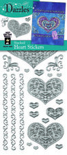 HOT OFF THE PRESS 1844 DAZZLES HOTP STICKERS SILVER STACKED HEART
