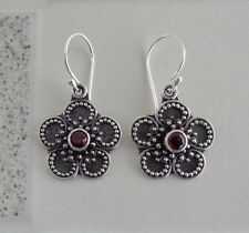 Gemstone Solid Silver, 925 Bali Handcrafted Flower Design Earring 39168
