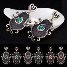 Women Elegant Vintage Ethnic Crystal Gems Drop Dangle Earrings Jewelry Gift New