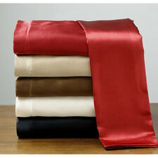 Soft Silk Feel Satin Pillowcase+Fitted+Flat Bed Sheet Set Polyester New