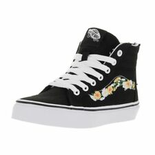 Vans Kids' Sk8-Hi Zip (Daisy) Black and White Canvas Skate Shoes with