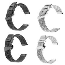Silver Black 20mm Stainless Steel Mesh Watch Band Bracelet Strap Replacement