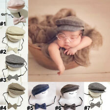 Newborn Baby Peaked Beanie Cap Hat + Bow Tie Photo Photography Prop Outfit Set