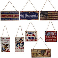 Wooden Hanging Plaque American 4th of July USA Patriotic Sign Party Home Decor