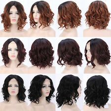 Short Curly BOB Wig Heat Resistant Black Ombre Synthetic Hair Costume Full Wigs