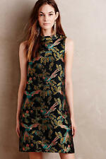 NWT Anthropologie By Leifsdottir Shangri-la Jacquard Swing Bird Dress 2P, 0, 0P