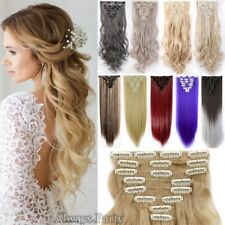 UK Full Head Remy Long 8 Pieces Clip In Hair Extensions Real Thick As Human LC