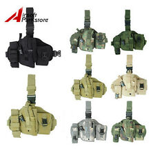 Tactical Military Molle Pistol Gun Drop Leg Thigh Holster Pouch w/ Radio Holder