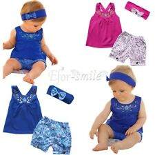 3pcs Baby Girls Toddler Headband +Top+ Floral Shorts Outfit Summer Playsuit Sets