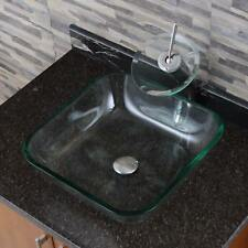 Transparent Square Tempered Glass Bathroom Vessel Sink withWaterfall Faucet