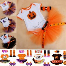 4PCS BABY TODDLER GIRLS PARTY TUTU ROMPER DRESS SKIRT OUTFITS HALLOWEEN COSTUME