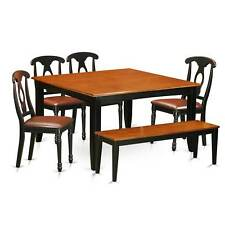 PFKE6-BCH Solid Wood 4-chair and Dining Bench 6-piece Dining Room Table Set