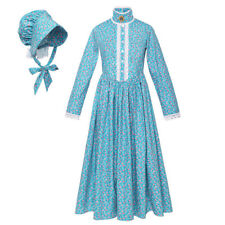 Reenactment Pioneer Prairie Colonial Girl Costume Carnival Cosplay Party Dress