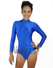 80'S Blue Shiny Spandex Mock Neck Dance Leotard Bodysuit Holiday Costume S-3XL