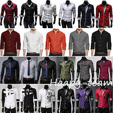 Mens Casual Button Down Slim Fit Long Sleeve Casual Formal Dress Shirts Tops
