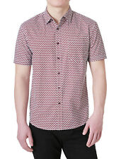 Mens Zigzag Print Chest Pocket Button Down Casual Short Sleeve Shirt