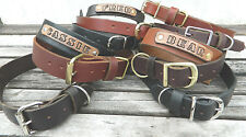 """Handmade Leather Dog Collar 3/4""""&1"""" Wide Name Drop/Personalize,Choose Color/Size"""