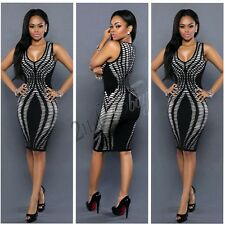 Womens Sleeveless Bodycon Cocktail Stripe Dress Ladies Evening Party Mini Dress