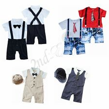 Baby Boys Infant Toddlers Gentleman suit bodysuit Romper Clothes Outfit 6-9 M