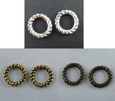 300 Silver/Gold/Bronze Tone Twisted Circle Link Connectors 9.5x1.5mm zn2778