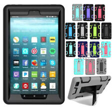 """Kids Safe Shockproof Silicone PC Case Cover For Amazon Kindle Fire 7"""" 2017+Film"""