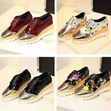 Womens Mix Color Wedge Platform Heel Creeper Lace Up Shoes Pumps Oxford Size @#&
