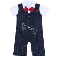 Baby Boys Toddler Gentleman Bodysuit Bow-Tie Set Romper Jumpsuit Outfit Clothes
