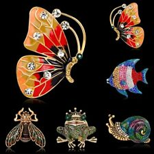 Fashion Vintage Crystal Cartoon Animal Butterfly Snail Fish Brooch Pin Jewelry