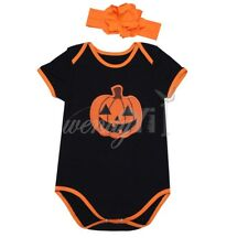 Halloween Newborn Baby Girls Romper Bodysuit Pumpkin Costume Outfit Headband Set
