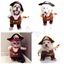 Pet Dog Cat Pirate Clothes Halloween Gift Dress Costume Suit Outfit Apparel S-L