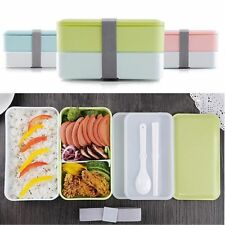 900ML 2 Layer Japanese Lunch Box Picnic Bento Food Containers + Spoon Chopstic