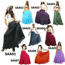 Skirt SAA1-9 Plain Long Cotton Tiered Broomstick Casual Boho Gypsy Peasant Women