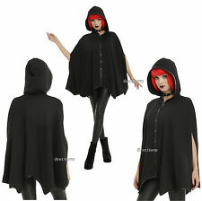Black Hooded Bat Wings Hood Cape Pockets Faux Leather Cosplay Costume S/M L/XL
