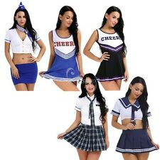 Women Ladies Halloween Sissy Stewardess School Girls Cheerleader Cosplay Costume
