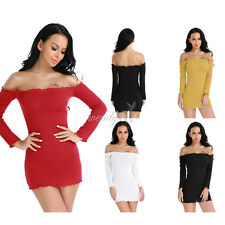 Women Off Shoulder Bodycon Long Sleeve Evening Party Cocktail Mini Dress S M L