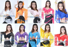 Ladies Belly Dance Top Adult Lace Bolero Flared Long Sleeve Blouse Tops 11Colors