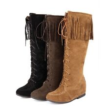 Womens Fashion FauxSuede Bohemian Tassel Hidden Wedge Heel Knee High Boots Shoes