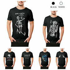 Funny Men's Skull Print Cotton T-shirts Crew Neck Short Sleeve Summer Tee Shirts