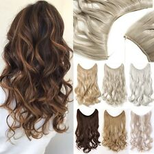 UK Secret Headband Wire One Piece No Clip Hair Extensions Curly Straight Wavy