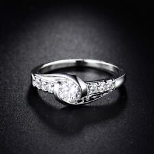 Twinkling 18k White Gold Filled Unique White CZ Engagement Eternity Ring Sz5-Sz9