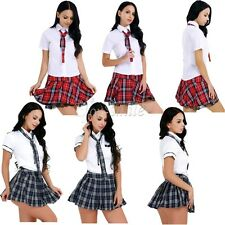 Sexy Women's School Girl Uniform Outfit Fancy Dress Lingerie Cosplay Costume
