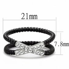 Round Clear CZ X Cross Band Two Tone IP Black 316 Stainless Steel Rope Ring