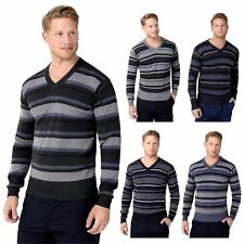 Mens Striped V Neck Wool Knit Long Sleeve Smart Jumper Sweater Pullover Work Top