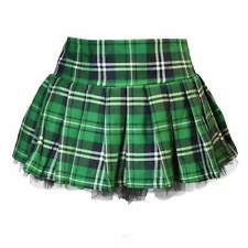 PLUS Sz Womens Sexy Schoolgirl Skirt Green Plaid Pleated Tulle Naughty Costume