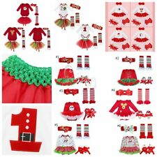 4PCS Baby Girl Christmas Santa Toddler Costume Tutu Skirt Outfit Fancy Dress Up