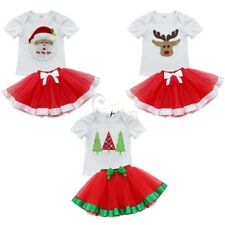 Baby Girl Christmas Santa Claus Fancy T-shirt Top+Tutu Dress Outfit Xmas Costume