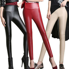 Women Faux Leather Ankle Length Trousers Skinny High Waist Leggings Pencil Pants