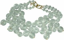 KENNETH JAY LANE-3 STRAND CLEAR BEADS CLUSTER DROPS NECKLACE