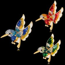 Women Fashion Crystal Rhinestone Enamel Animal Bird Brooch Pin Bouquet Jewelry